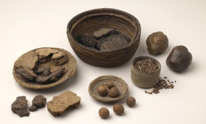 This image of bread, fruit and  grain from New Kingdom tombs, about 1400 BCE comes from the National Museums Liverpool blog