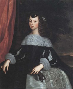 The young, convent-educated Catherine, demure in Portuguese court dress. (c) National Portrait Gallery.