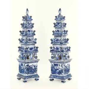 A pair of Delft single flower-vases, similar in style to those in the Royal Collection