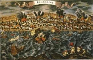 The Lisbon earthquake, contemporary print