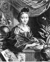 Maria Sibylla in later life, surrounded by her works