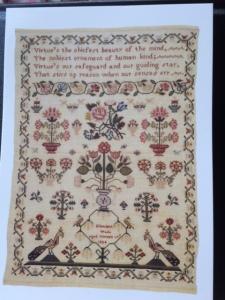 Sampler worked by Elizabeth Wade, 1824. (c) Fitzwilliam Museum Enterprises Ltd.