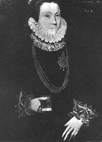 This unsatisfactory image is a portrait of Lady Bacon aged 51, attributed to George Gower