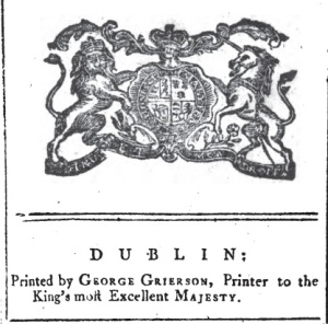 Grierson's colophon as king's printer in Ireland