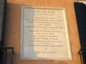 The commemorative tablet at Pensione La Calcina, Zattere