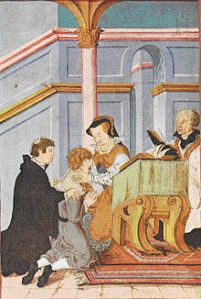 Queen Mary, touching for the 'Evil', by levina Teerlinc, Flemish miniaturist