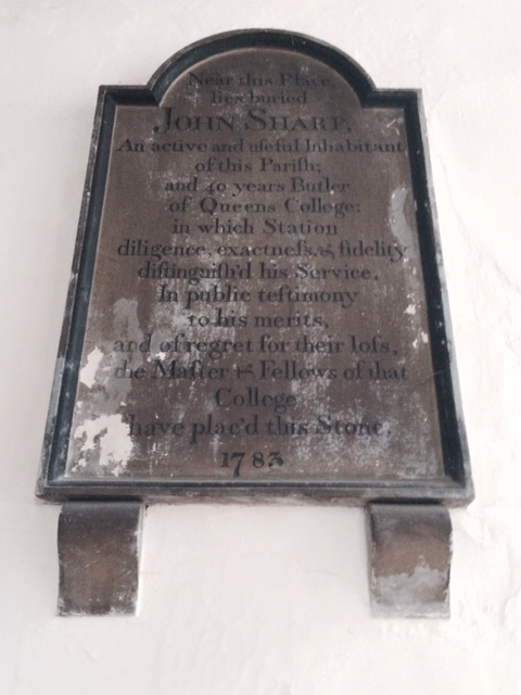 Memorial to John Sharp, butler of Queens' College