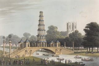 The Hyde Park Chinese bridge and pagoda, before the conflagration.