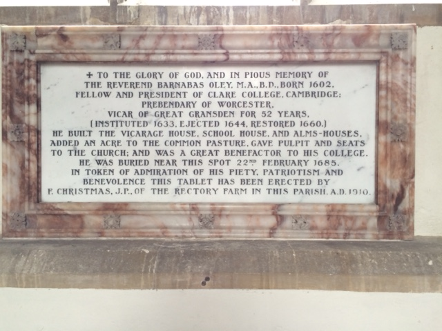 The memorial to Barnabas Oley inside the church.