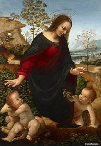 The young St John hugging his lamb, by Leonardo da Vinci.