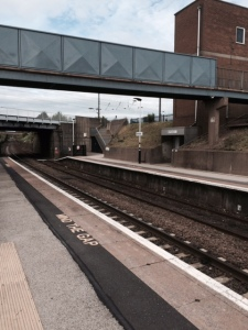 The lower rail platform at Retford, with the main track overhead.
