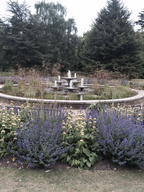 The fountain, surrounded by a brilliant planting of Stipa gigantea, phlomis and nepeta