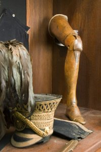 One of three articulated wooden legs used by Uxbridge, in the Cavalry Museum at Plas Newydd. His amputated leg, having been examined at Uxbridge's request by a brother officer, who reported it better off than on, was buried at Waterloo, and became a tourist attraction. Such wonderful British sang-froid...