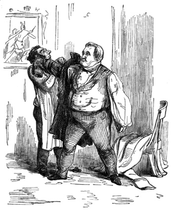 The unheroic Jos preparing to flee Brussels: Thackeray's own drawing for the first edition of Vanity Fair.