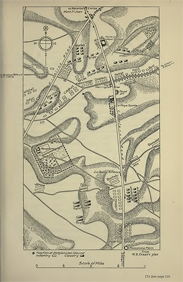 This plan from the book shows the field of Waterloo, with the farmhouse at Mont-St_Jean, where William died, at the top
