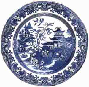 A modern willow-pattern plate