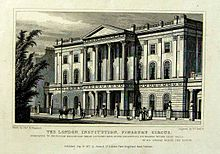 The London Insitution, in its third home at Finsbury Circus, 1815. The building was demolished in 1936.