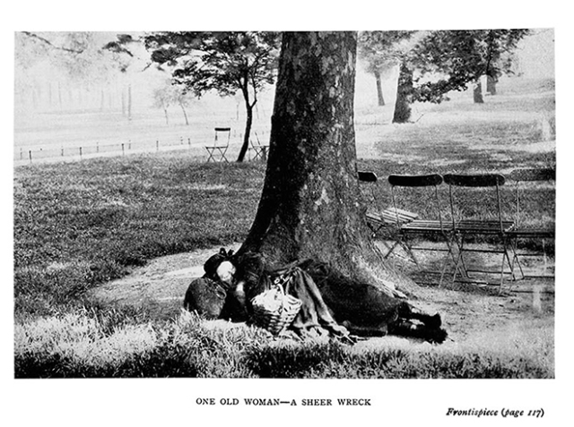 'A sheer wreck': an old woman sleeping rough. The frontispiece to 'The People of the Abyss'.