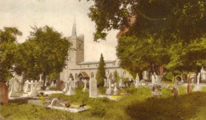 Aldenham churchyard, where George Hibbert is buried, from a 1930 postcard.
