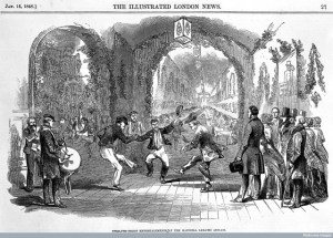 The happy inmates of the Hanwell asylum enjoy Twelfth Night, while middle-class visitors look on approvingly. Credit: Wellcome Library, London. Wellcome Images images@wellcome.ac.uk http://wellcomeimages.org The twelth night entertainment in Hanwell Lunatic Asylum. 1848 Illustrated London News Published: 1848 Copyrighted work available under Creative Commons Attribution only licence CC BY 4.0 http://creativecommons.org/licenses/by/4.0/