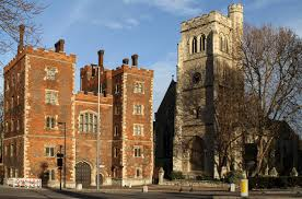 St Mary's church, to the right of the gatehouse of Lambeth Palace, London seat of the archbishops of Canterbury.