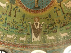 S. Apollinare and his sheep, also symbolic of Christs and his disciples