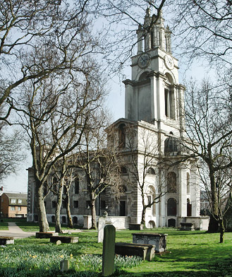 Hawksmoor's church of St Anne, Limehouse, today.