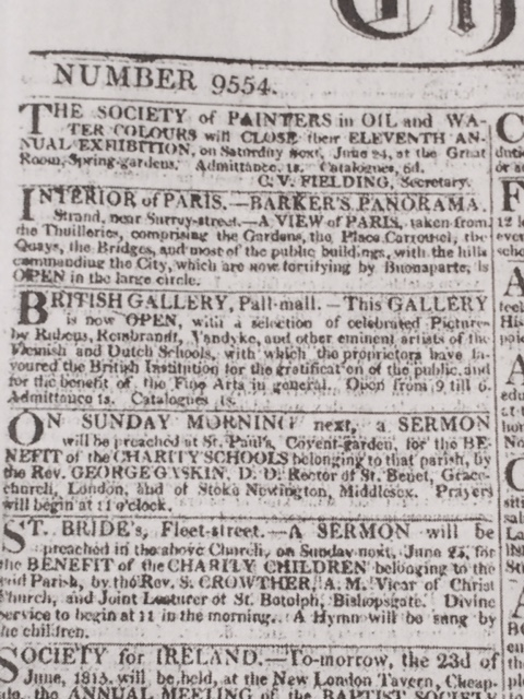 Page 1 of The Times of 22 June 1815.