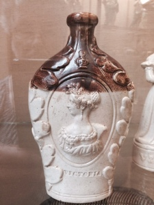 Queen Victoria's profile on the side of a flask; her mother, the duchess of Kent, is on the other side.