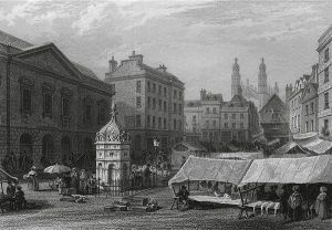 Le Keux's engraving of the market place before the fountain was removed.