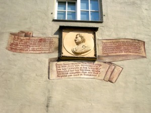 The memorial to Don John of Austria: the verses mention the 'beautiful Barbara'.