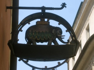 This splendid elephant marks an apothecary's shop.