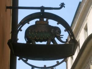 This splendid elephant marks an apothecary's shop.
