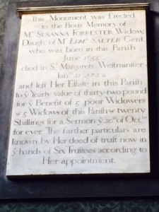 Monument of Mrs Susannah Forrester, from the old church.