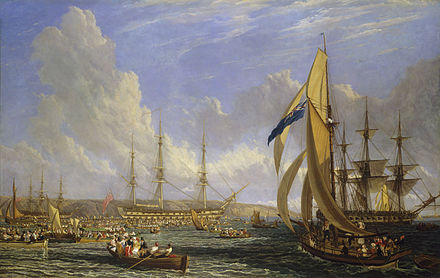 The scene in Plymouth Sound in August 1815, as sightseers surrounded the Bellerophon, by John James Chalon. Credit: the National Maritime Museum.