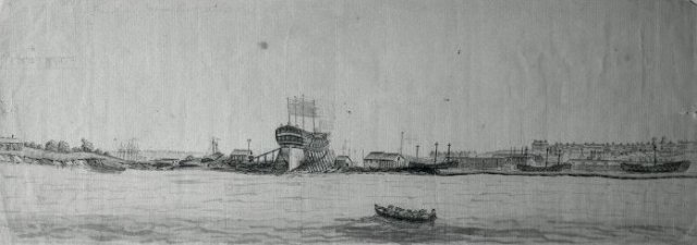 An anonymous sketch showing Bellerophon under construction at Frindsbury. Credit: the British Museum.