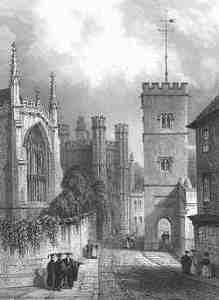 All Saints' church, with the arch for pedestrians under its tower,opposite Trinity chapel and St John's gatehouse, from Le Keux's enraving of 1841–2.