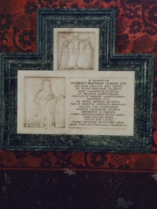 The memorial to Herbert Luckock, vicar of the old and then the new church.