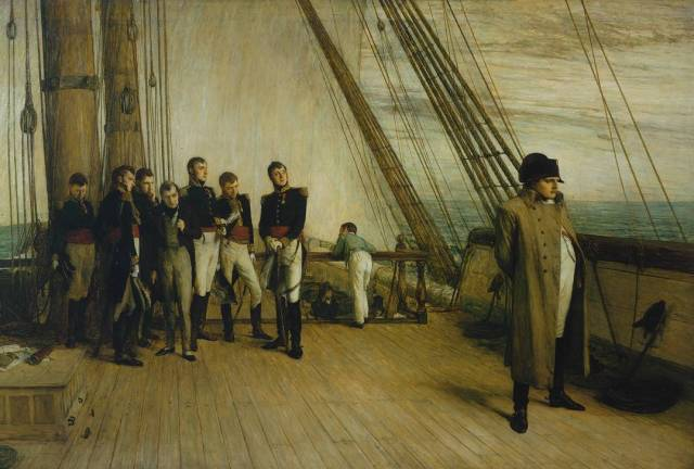 The most famous image of 'Napoleon on Board the Bellerophon' was exhibited in 1880 by Sir William Quiller Orchardson. Credit: Tate Britain.