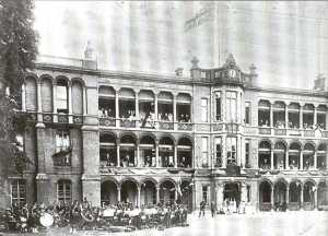Old Addenbrooke's in 1911: the band is perhaps to celebrate George V's coronation.