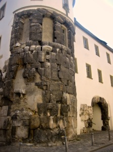 Remains of one of the two towers at either side of the Porta Praetoria, Regensburg.
