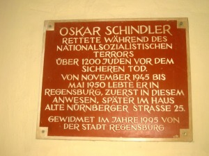 Plaque commemorating Oskar Schindler's residence in the city.