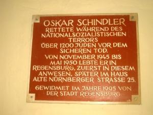Plaque commemorating Oskar Schindler's residence in the city.