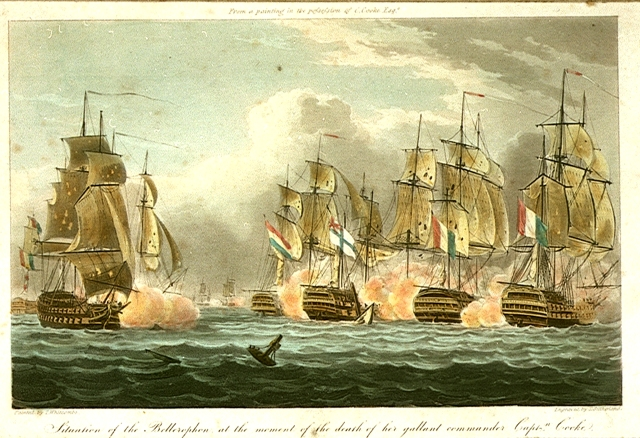 Depiction of Bellerophon, surrounded by French ships, at the moment of Cooke's death, by Thomas Whitcombe. Credit: National Maritime Museum.