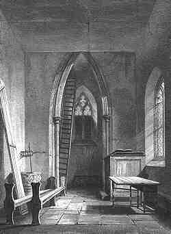 The delapidated interior of St Peter's church, from Le Keux's engraviing of 1841–2.