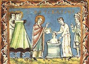 St Boniface baptising the heathen.