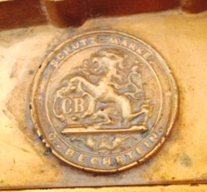 The Bechstein stamp on the iron frame.