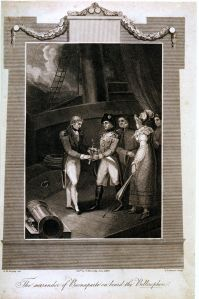 The surrender of Napoleon aboard the Bellerophon, an 1816 print by G.M. Brighty. Credit: the National Maritime Museum.