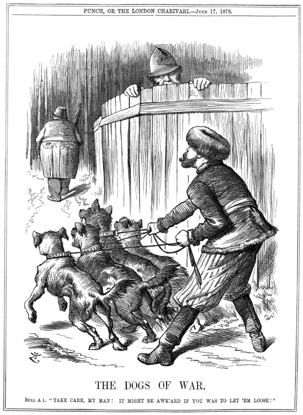 This Punch cartoon has the Russian, about to let loose his dogs on the elderly Turkish gent, being warned off by the British policeman over the fence.