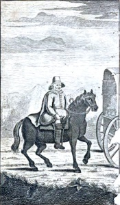 Thomas Hobson riding behind one of his carts (as imagined in 1713).